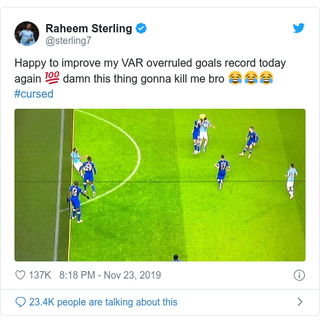Twitter post by @sterling7: Happy to improve my VAR overruled goals record today again 💯 damn this thing gonna kill me bro 😂😂😂 #cursed
