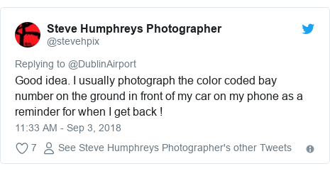 Twitter post by @stevehpix: Good idea. I usually photograph the color coded bay number on the ground in front of my car on my phone as a reminder for when I get back !