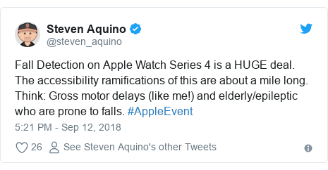 Twitter post by @steven_aquino: Fall Detection on Apple Watch Series 4 is a HUGE deal. The accessibility ramifications of this are about a mile long. Think Gross motor delays (like me!) and elderly/epileptic who are prone to falls. #AppleEvent