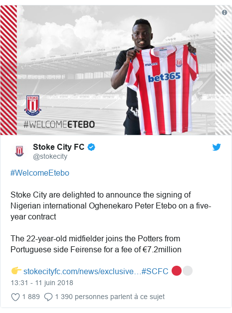 Twitter publication par @stokecity: #WelcomeEteboStoke City are delighted to announce the signing of Nigerian international Oghenekaro Peter Etebo on a five-year contractThe 22-year-old midfielder joins the Potters from Portuguese side Feirense for a fee of €7.2million👉 #SCFC 🔴⚪️