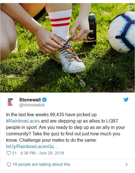 Twitter post by @stonewalluk: In the last few weeks 99,435 have picked up #RainbowLaces and are stepping up as allies to LGBT people in sport. Are you ready to step up as an ally in your community? Take the quiz to find out just how much you know. Challenge your mates to do the same