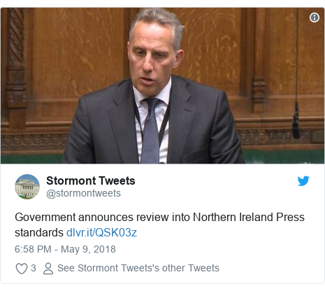 Twitter post by @stormontweets: Government announces review into Northern Ireland Press standards
