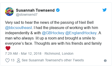 Twitter post by @stownsend7: Very sad to hear the news of the passing of Neil Bell @bbcsoutheast. I had the pleasure of working with him independently & with @GBHockey @EnglandHockey. A man who always  lit up a room and brought a smile to everyone's face. Thoughts are with his friends and family ❤️