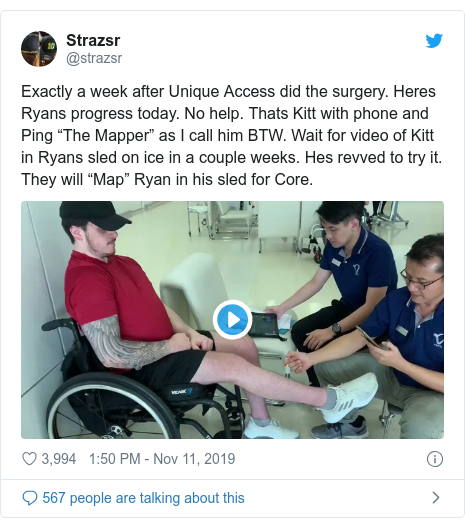 "Twitter post by @strazsr: Exactly a week after Unique Access did the surgery. Heres Ryans progress today. No help. Thats Kitt with phone and Ping ""The Mapper"" as I call him BTW. Wait for video of Kitt in Ryans sled on ice in a couple weeks. Hes revved to try it. They will ""Map"" Ryan in his sled for Core."