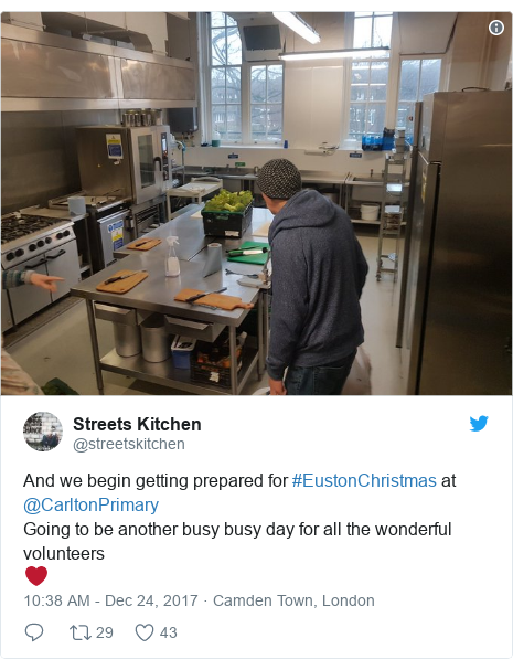 Twitter post by @streetskitchen: And we begin getting prepared for #EustonChristmas at @CarltonPrimary Going to be another busy busy day for all the wonderful volunteers ❤