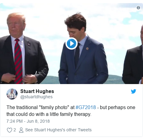 """Twitter post by @stuartdhughes: The traditional """"family photo"""" at #G72018 - but perhaps one that could do with a little family therapy."""