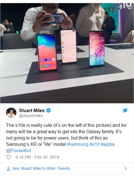 "Twitter post by @stuartmiles: The s10e is really cute (it's on the left of this picture) and for many will be a great way to get into the Galaxy family. It's not going to be for power users, but think of this as Samsung's XR or ""lite"" model #samsung #s10 #apple @Pocketlint"
