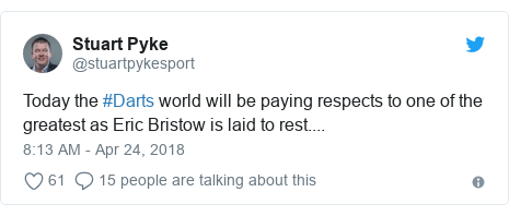 Twitter post by @stuartpykesport: Today the #Darts world will be paying respects to one of the greatest as Eric Bristow is laid to rest....