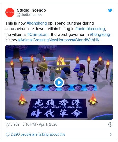 Twitter post by @studioincendo: This is how #hongkong ppl spend our time during coronavirus lockdown - villain hitting in #animalcrossing, the villain is #CarrieLam, the worst governor in #hongkong history.#AnimalCrossingNewHorizons#StandWithHK