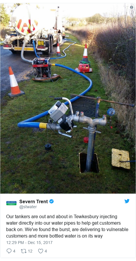 Twitter post by @stwater: Our tankers are out and about in Tewkesbury injecting water directly into our water pipes to help get customers back on. We've found the burst, are delivering to vulnerable customers and more bottled water is on its way