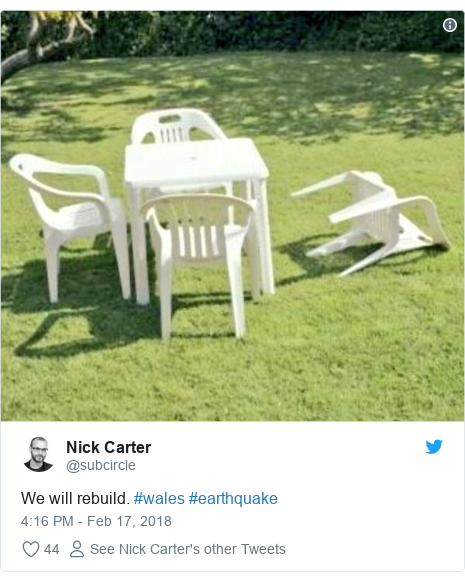 Twitter post by @subcircle: We will rebuild. #wales #earthquake