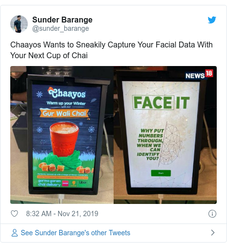 Twitter post by @sunder_barange: Chaayos Wants to Sneakily Capture Your Facial Data With Your Next Cup of Chai
