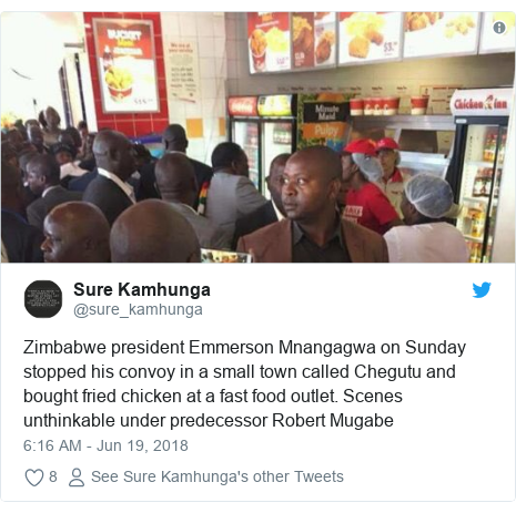 Twitter post by @sure_kamhunga: Zimbabwe president Emmerson Mnangagwa on Sunday stopped his convoy in a small town called Chegutu and bought fried chicken at a fast food outlet. Scenes unthinkable under predecessor Robert Mugabe