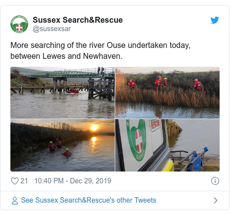 Twitter post by @sussexsar: More searching of the river Ouse undertaken today, between Lewes and Newhaven.