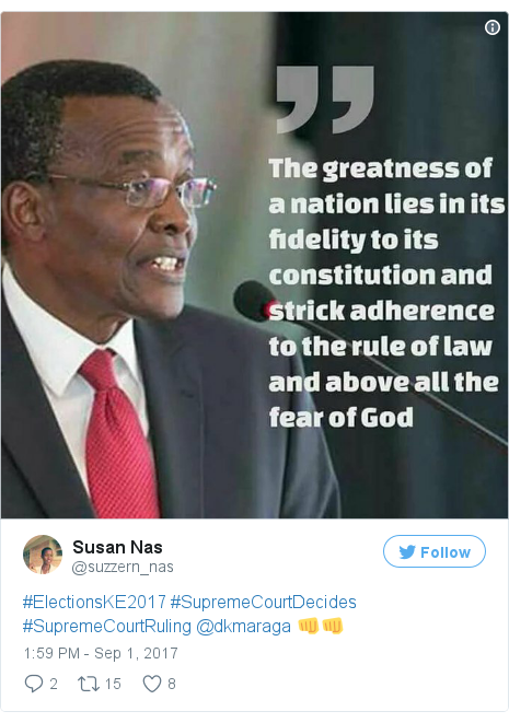 Twitter post by @suzzern_nas: #ElectionsKE2017 #SupremeCourtDecides #SupremeCourtRuling @dkmaraga 👊👊 pic.twitter.com/7FneSv6fe0