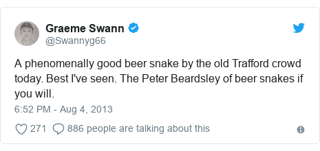 Twitter post by @Swannyg66: A phenomenally good beer snake by the old Trafford crowd today. Best I've seen. The Peter Beardsley of beer snakes if you will.