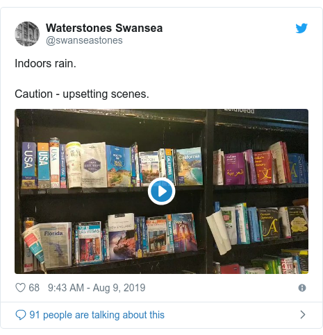 Twitter post by @swanseastones: Indoors rain.Caution - upsetting scenes.