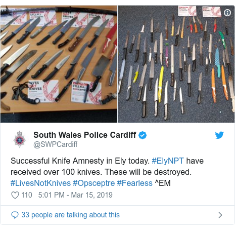 Twitter post by @SWPCardiff: Successful Knife Amnesty in Ely today. #ElyNPT have received over 100 knives. These will be destroyed. #LivesNotKnives #Opsceptre #Fearless ^EM
