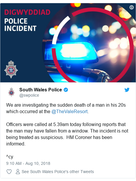 Twitter post by @swpolice: We are investigating the sudden death of a man in his 20s which occurred at the @TheValeResort.Officers were called at 5.39am today following reports that the man may have fallen from a window. The incident is not being treated as suspicious.  HM Coroner has been informed.^cy