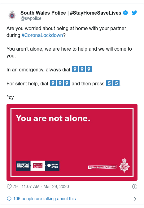 Twitter post by @swpolice: Are you worried about being at home with your partner during #CoronaLockdown? You aren't alone, we are here to help and we will come to you. In an emergency, always dial 9️⃣9️⃣9️⃣.For silent help, dial 9️⃣9️⃣9️⃣ and then press 5️⃣5️⃣.^cy
