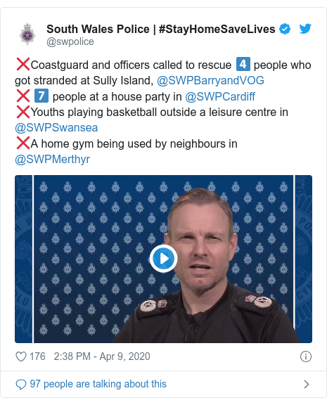 Twitter post by @swpolice: ❌Coastguard and officers called to rescue 4️⃣ people who got stranded at Sully Island, @SWPBarryandVOG ❌ 7️⃣ people at a house party in @SWPCardiff ❌Youths playing basketball outside a leisure centre in @SWPSwansea ❌A home gym being used by neighbours in @SWPMerthyr