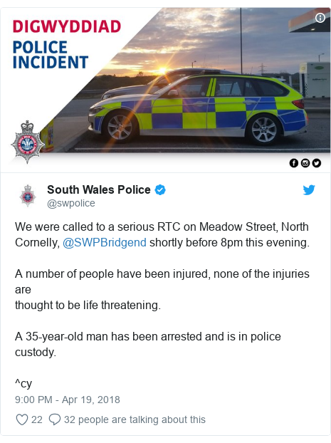 Twitter post by @swpolice: We were called to a serious RTC on Meadow Street, North Cornelly, @SWPBridgend shortly before 8pm this evening.A number of people have been injured, none of the injuries arethought to be life threatening. A 35-year-old man has been arrested and is in police custody.^cy