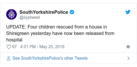 Twitter post by @syptweet: UPDATE  Four children rescued from a house in Shiregreen yesterday have now been released from hospital