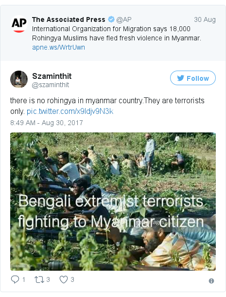 Twitter post by @szaminthit: there is no rohingya in myanmar country.They are terrorists only. pic.twitter.com/x9Idjv9N3k