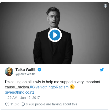 Twitter post by @TaikaWaititi: I'm calling on all kiwis to help me support a very important cause...racism.#GiveNothingtoRacism 😐