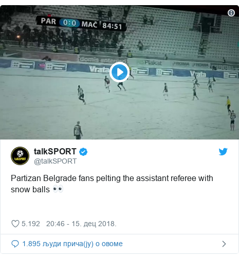 Twitter post by @talkSPORT: Partizan Belgrade fans pelting the assistant referee with snow balls 👀