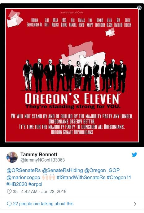 Twitter post by @tammyNOonHB3063: @ORSenateRs @SenateRsHiding @Oregon_GOP @marioncogop 🙌🏻🙌🏻 #IStandWithSenateRs #Oregon11 #HB2020 #orpol