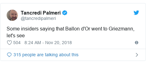 Twitter wallafa daga @tancredipalmeri: Some insiders saying that Ballon d'Or went to Griezmann, let's see