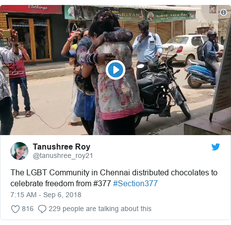 Twitter post by @tanushree_roy21: The LGBT Community in Chennai distributed chocolates to celebrate freedom from #377 #Section377