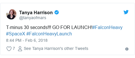 Twitter post by @tanyaofmars: T-minus 30 seconds!!! GO FOR LAUNCH!#FalconHeavy #SpaceX #FalconHeavyLaunch