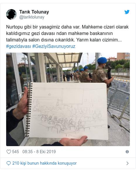 @tariktolunay tarafından yapılan Twitter paylaşımı: Nurtopu gibi bir yasagimiz daha var. Mahkeme cizeri olarak katıldıgımız gezi davası ndan mahkeme baskanının talimatıyla salon dısına cıkarıldık. Yarım kalan cizimim... #gezidavası #GeziyiSavunuyoruz