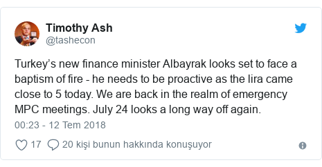 @tashecon tarafından yapılan Twitter paylaşımı: Turkey's new finance minister Albayrak looks set to face a baptism of fire - he needs to be proactive as the lira came close to 5 today. We are back in the realm of emergency MPC meetings. July 24 looks a long way off again.