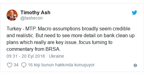 @tashecon tarafından yapılan Twitter paylaşımı: Turkey - MTP. Macro assumptions broadly seem credible and realistic. But need to see more detail on bank clean up plans which really are key issue..focus turning to commentary from BRSA.