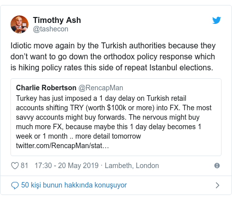@tashecon tarafından yapılan Twitter paylaşımı: Idiotic move again by the Turkish authorities because they don't want to go down the orthodox policy response which is hiking policy rates this side of repeat Istanbul elections.
