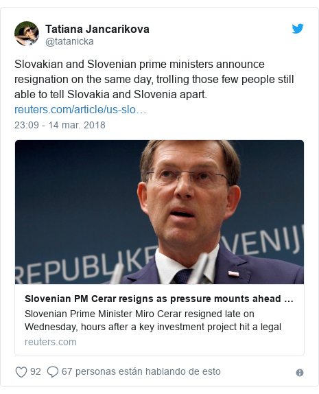 Publicación de Twitter por @tatanicka: Slovakian and Slovenian prime ministers announce resignation on the same day, trolling those few people still able to tell Slovakia and Slovenia apart.