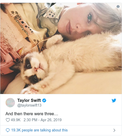 Twitter post by @taylorswift13: And then there were three…