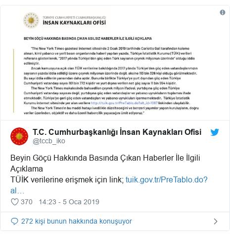 @tccb_iko tarafından yapılan Twitter paylaşımı: Beyin Göçü Hakkında Basında Çıkan Haberler İle İlgili AçıklamaTÜİK verilerine erişmek için link;