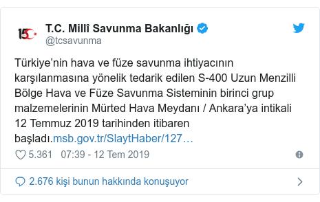 @tcsavunma tarafından yapılan Twitter paylaşımı: Türkiye'nin hava ve füze savunma ihtiyacının karşılanmasına yönelik tedarik edilen S-400 Uzun Menzilli Bölge Hava ve Füze Savunma Sisteminin birinci grup malzemelerinin Mürted Hava Meydanı / Ankara'ya intikali 12 Temmuz 2019 tarihinden itibaren başladı.