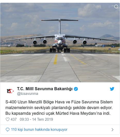 @tcsavunma tarafından yapılan Twitter paylaşımı: S-400 Uzun Menzilli Bölge Hava ve Füze Savunma Sistem malzemelerinin sevkiyatı planlandığı şekilde devam ediyor. Bu kapsamda yedinci uçak Mürted Hava Meydanı'na indi.