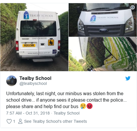 Twitter post by @tealbyschool: Unfortunately, last night, our minibus was stolen from the school drive... if anyone sees it please contact the police... please share and help find our bus 😢😡