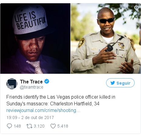 Twitter post de @teamtrace: Friends identify the Las Vegas police officer killed in Sunday's massacre  Charleston Hartfield, 34 https //t.co/CWu6qqTe9Q pic.twitter.com/dnHFnhQer0