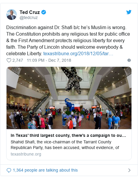 Twitter post by @tedcruz: Discrimination against Dr. Shafi b/c he's Muslim is wrong. The Constitution prohibits any religious test for public office & the First Amendment protects religious liberty for every faith. The Party of Lincoln should welcome everybody & celebrate Liberty.