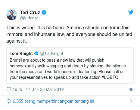 Twitter pesan oleh @tedcruz: This is wrong. It is barbaric. America should condemn this immoral and inhumane law, and everyone should be united against it.