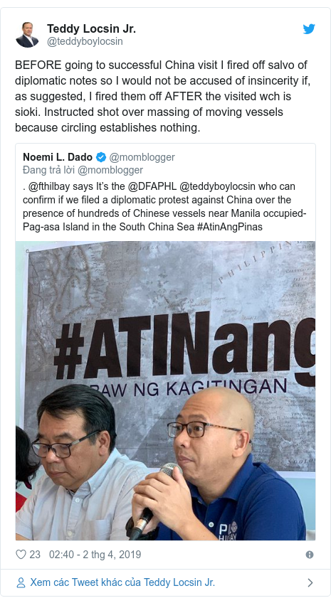 Twitter bởi @teddyboylocsin: BEFORE going to successful China visit I fired off salvo of diplomatic notes so I would not be accused of insincerity if, as suggested, I fired them off AFTER the visited wch is sioki. Instructed shot over massing of moving vessels because circling establishes nothing.