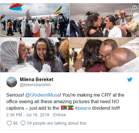 Twitter post by @tekerebanelim: Serious! @GhideonMusa! You're making me CRY at the office seeing all these amazing pictures that need NO captions -- just add to the 🇪🇷🇪🇹 #peace dividend list!!