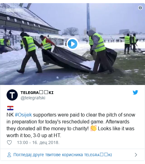Twitter post by @telegrafski: 🇭🇷NK #Osijek supporters were paid to clear the pitch of snow in preparation for today's rescheduled game. Afterwards they donated all the money to charity! 👏 Looks like it was worth it too, 3-0 up at HT.